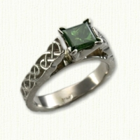 ' Sculpted Bridget' engagement ring with Lindesfarne pattern and princess cut green diamond