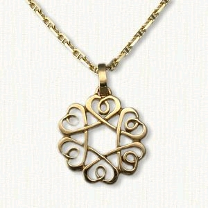 Threaded Heart Knot Pendant with Loops