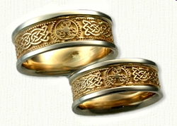 14kt Two Tone Custom Warrior Shield Bands with Tralee Celtic Knots