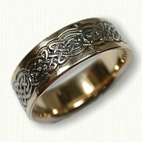 14kt Yellow Gold Celtic Tralee Knot Wedding Band - Reverse Etch with Black Ruthinium in the recessed knot work