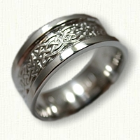 14kt White Gold Celtic Tralee Knot Band with  RAISED RAILS - 8mm width
