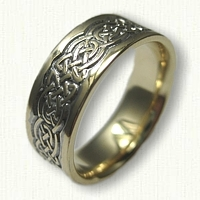 Tralee men's wedding band with black ruthenium in the recessed areas - 7.0mm width - reverse etch
