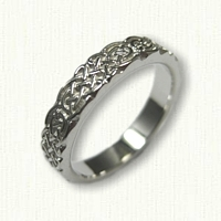 14kt White Gold Celtic Tralee Knot Inner Band - 4.0 mm width - Sculpted