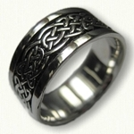 14kt White Gold Celtic Tralee Knot Wedding Band- 10.0mm width with Black Enamel in Recessed knotwork