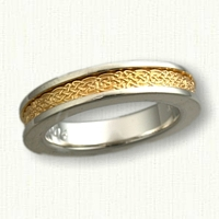 5mm wide Celtic Sleeved Tralee Knot Band Two Tone