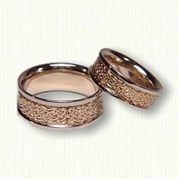 14kt Two Tone Celtic Tralee Knot Wedding Band Set