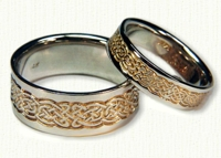 14kt white gold Tralee Knot Wedding Band - Reverse Etch with 18kt yellow gold electroplating in recesses